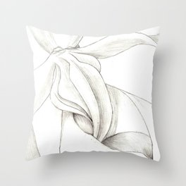 Orchid Center Sketch Throw Pillow
