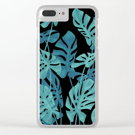 Graphic Monstera leaves. Clear iPhone Case
