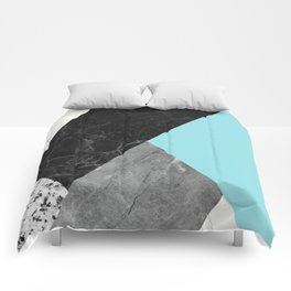 Black and White Marbles and Pantone Island Paradise Color Comforters