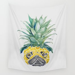 Pineapple  Pug Watercolor Wall Tapestry