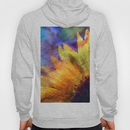 Sunflower Flower Floral on colorful watercolor texture Hoody