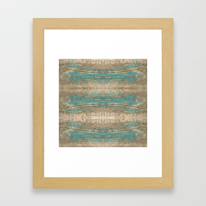 Rustic Wood Beautiful Weathered Wooden Plank Knotty Wood Weathered Turquoise Paint Framed Art Print By Turningmoss Society6