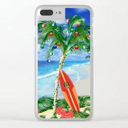 Beach Christmas Clear iPhone Case