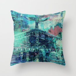 Totem Cabin Abstract - Teal Throw Pillow
