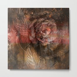 361 Red and Gold Autumn Roses Metal Print