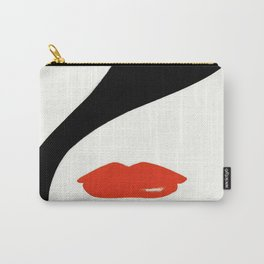 Retro Fashion Model with Stylish Hair and Red Lipstick Carry-All Pouch