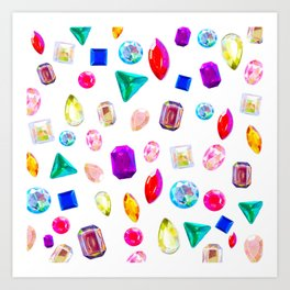Rhinestone Reverie in White Art Print