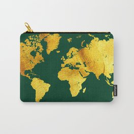 Forest Green and Gold Map of The World - World Map for your walls Carry-All Pouch