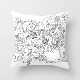 Very detailled surrealism sketchy doodle ink drawing Throw Pillow