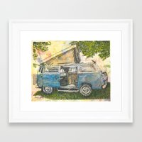 volkswagon Framed Art Prints featuring VW Camper Bus by Barb Laskey Studio