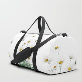 white Margaret daisy watercolor Duffle Bag