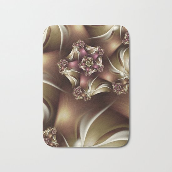 Abiding Fractal Spiral in Brown, White and Pink Bath Mat