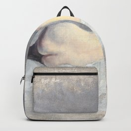 Soft Pastel Nude Female Oil painting of Woman Sleeping Backpack