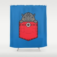 pocket Shower Curtains featuring Pocket Rhino by Steven Toang