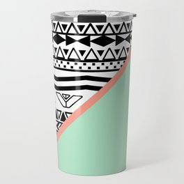 Block | Black White Aztec Pattern Mint Green Color Block Travel Mug