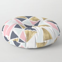 Modern geometrical pink navy blue gold triangles pattern Floor Pillow