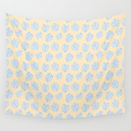 Monstera Tropical Pastel Lemon & Lavender Pattern Wall Tapestry