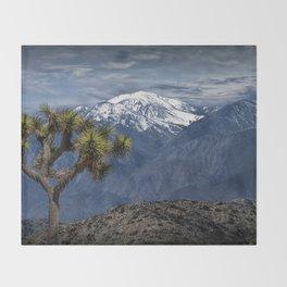 Joshua Tree at Keys View in Joshua Park National Park viewing the Little San Bernardino Mountains Throw Blanket