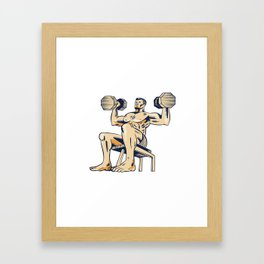 High Intensity Interval Training Dumbbell Etching Framed Art Print