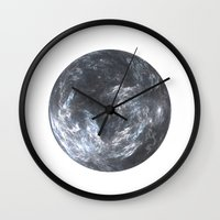 planet Wall Clocks featuring Planet by Design Art Helvetica and Abstract Art, m