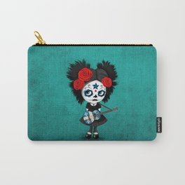 Day of the Dead Girl Playing Quebec Flag Guitar Carry-All Pouch