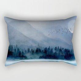 Mountainscape Under The Moonlight Rectangular Pillow