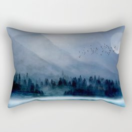 Mountainscape Under The Moonlight Rectangular Pillow
