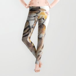 Bengal Cats Love Watercolor Ink Art Leggings