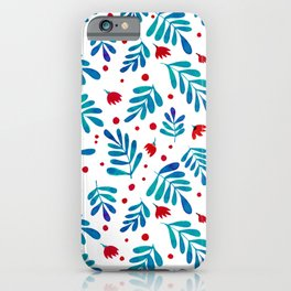 Watercolor branches and flowers - teal and red iPhone Case