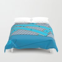 saga Duvet Covers featuring RONNIE FIEG X ASICS GEL SAGA - NEPTUNE by SNEAKERPILLOW