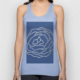 Flower in White Gold Sands on Aegean Blue Unisex Tank Top
