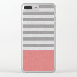 Peachy and gray stripes and color block Clear iPhone Case