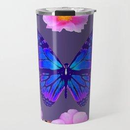 BLUE BUTTERFLY PINK ROSES GREY ART Travel Mug