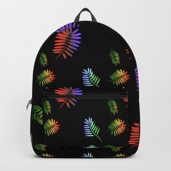 Tropical Palm Black Backpack
