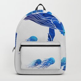Blue Watercolor Sea Creatures Backpack