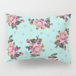 Pink Roses on Blue Pillow Sham