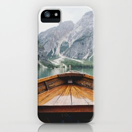 Mountain Lake with natural wood boat iPhone Case