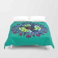 cara Duvet Covers featuring Cara Blue by Ellie And Ada