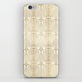Gold foil and white art-deco pattern iPhone Skin