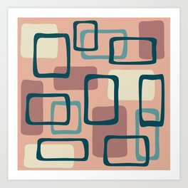 Mid Century Modern Abstract Squares Pattern 445 Art Print