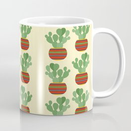 Potted Bunny Ears Cactus / Angel Wing Plant, Modern Hand-painted Acrylic Plants in Colorful Tribal Bohemian Pots Series Coffee Mug