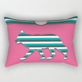 Pink and Teal Wolf Stripe Animal Pattern Design Rectangular Pillow
