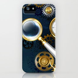 Steampunk blue background with magnifier iPhone Case
