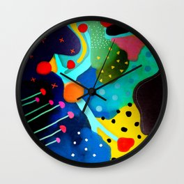 Abstract Art - Lagoon mushrooms rupydetequila amazonia dots cheetah Wall Clock