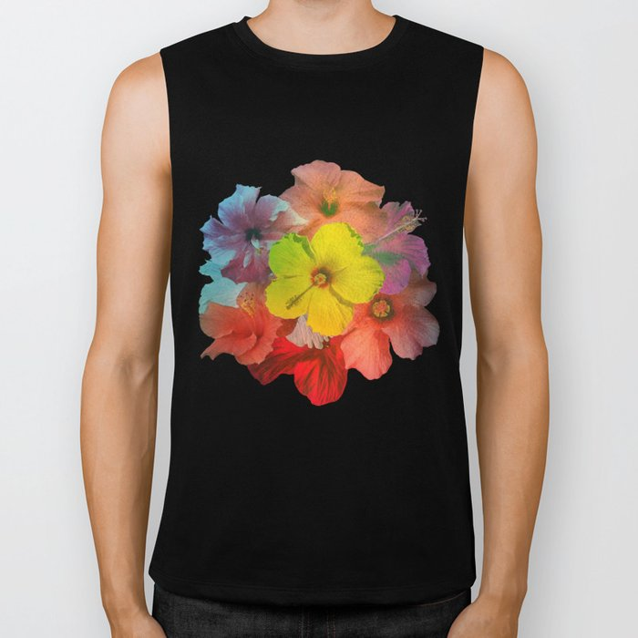 Colorful Hibiscus Bouquet Biker Tank