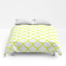 Chartreuse Fish Scales Pattern Comforters
