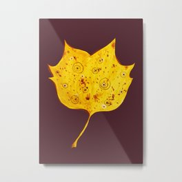Fancy Watercolor Yellow Autumn Leaf Metal Print