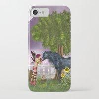 the last unicorn iPhone & iPod Cases featuring The Last Black Unicorn by Simone Gatterwe