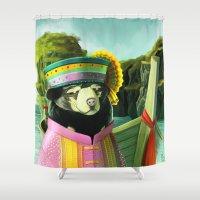 thailand Shower Curtains featuring Thailand Sun Bear by Natalia Komuniewska