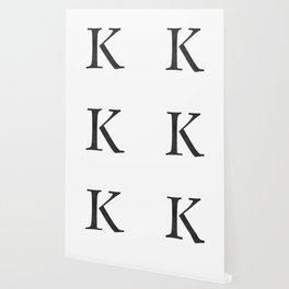 Letter K Initial Monogram Black and White Wallpaper
